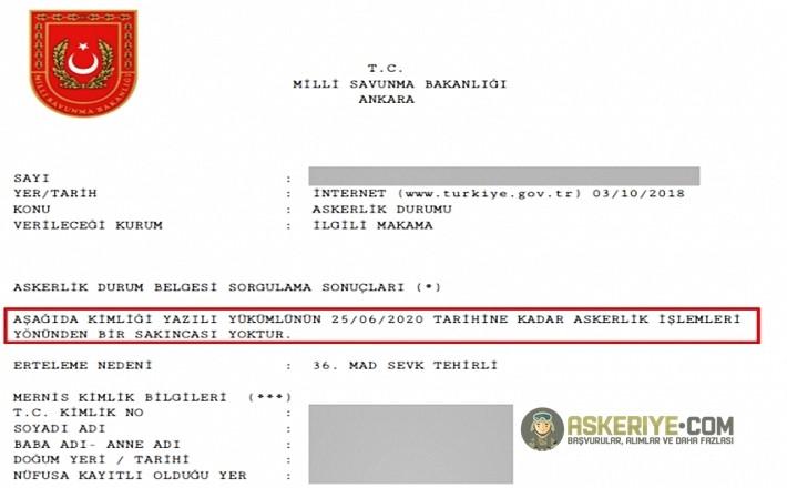 askerlik ilişiği belgesi